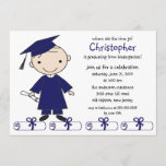 Stick Figure Boy Graduation Invitation