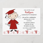 Stick Figure Girl Graduation Invitation