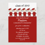 Stick Figure Girls & Boys Graduation Invitation