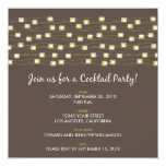 String of Lights Cocktail Party Invitation (brown)