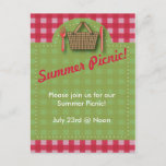 Summer Picnic Gingham Postcard