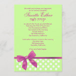 Suzette Bat Mitzvah Invitation Pink Lime Bow Dots