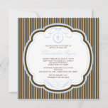 Sweet Cross Blue & Brown Boy Baptism Inviation Invitation