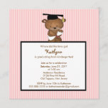 Sweet Grad Bear Kindergarten Graduation Invitation