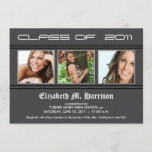 Swirly-Q 3-Photo Graduation Announcement (grey)