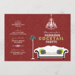 {TBA} Chic Zebra Cocktail Party Invitation (red)
