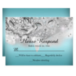 Teal & Silver Sparkle Masquerade RSVP Reply Invitation