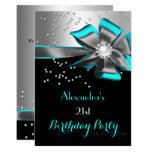 Teal Aqua Black Silver Bow Pearl Birthday Party Invitation
