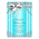 Teal Blue and Gray Pearl First Communion Card