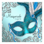 Teal Blue and Silver Mask Masquerade Party Card