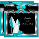 Teal Blue Glitter Hi Heels Silver Birthday Party Card