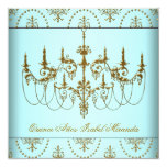 Teal Blue Gold Chandelier Quinceanera Invitation