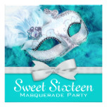Teal Blue Masquerade Party Card