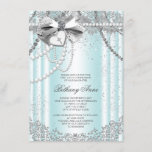 Teal Blue Pearl Cross First Communion Invitation