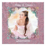 Teal Blue Pink Picture Quinceanera Card