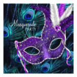 Teal Blue Purple Peacock Masquerade Party Card