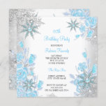 Teal Blue Rose Winter Wonderland Snowflakes Party Invitation