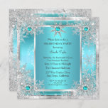 Teal Blue Snowflake Silver Winter Wonderland Invitation
