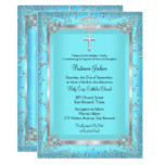 Teal Blue Sparkle Photo Baptism Christening Card
