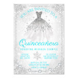 Teal Blue Winter Wonderland Quinceanera Invitation