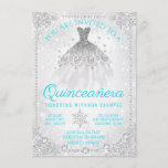 Teal Blue Winter Wonderland Snowflake Quinceanera Invitation