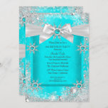 Teal Blue Winter Wonderland Snowflake Silver Bow 2 Invitation