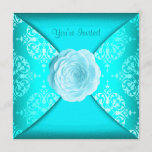 Teal Damask Rose Teal Blue All Occasion Invitation