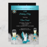 Teal High Heels Black Gold Champagne Party Invitation