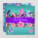 Teal Purple blue Pink Butterfly Birthday Party Invitation