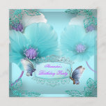 Teal Purple Butterfly Birthday Party Women Girls 2 Invitation