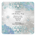 Teal Silver Winter Wonderland Snowflakes Party 2 Invitation