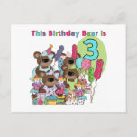 Teddy Bear Party 3rd Birthday Tshirts and Gifts Invitation Postcard