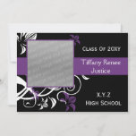 trendy purple Graduation photo Invitation