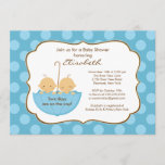 Twins Boys Umbrella Baby Shower Invitation Blue