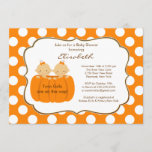 Twins Girls Fall Pumpkin Baby Shower Invitation