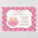 Twins Girls Umbrella Baby Shower Invitation Pink