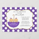Twins Girls Umbrella Baby Shower Invitation Purple