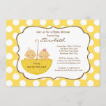 Twins Umbrella Baby Shower Invitation Yellow