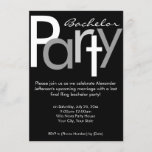 Typographic Gray Black Bachelor Party Invitation