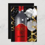 Vintage 70th Birthday Red Wine Black Gold Silver Invitation