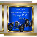 Vintage Blue Racing Car Mans 60th Birthday Party Invitation