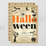 Vintage elements Halloween party Invitation