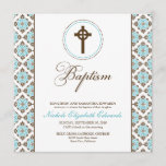 Vintage Grace Baptism Invitation (chocolate/aqua)