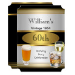 Vintage Mens 60th Birthday Party Gold Silver Beer Card