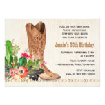 Western Boot and Cactus Birthday Card