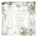 White Cross Floral First Communion Card
