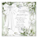 White Cross Floral First Communion Invitation