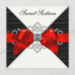 White Diamonds Black Red Sweet 16 Birthday Party Invitation