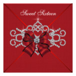 White Diamonds Red Sweet 16 Birthday Party Card