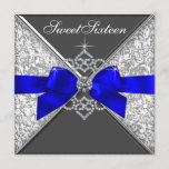 White Diamonds Royal Blue Sweet 16 Birthday Party Invitation